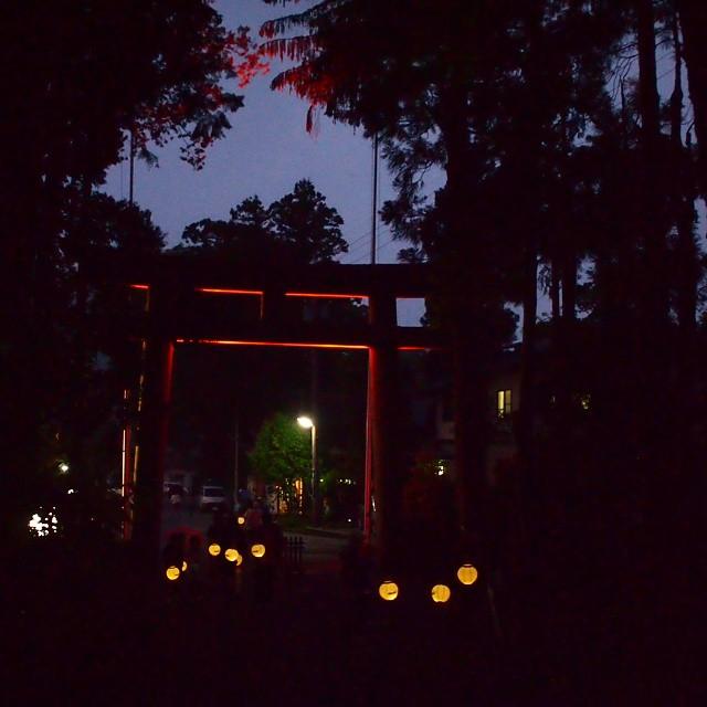 白山ひめ神社のライトアップ。提灯のレンタルもあって、なかなか幻想的。
