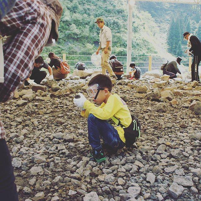 勝山にて化石発掘中。大発見できるかな?