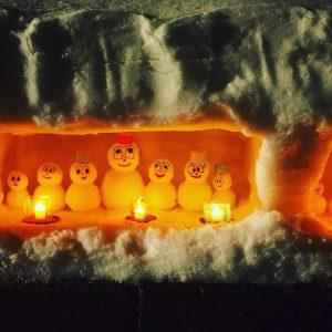 白峰桑島で雪だるま祭り